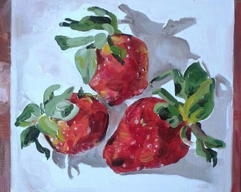 Strawberry Platter - small, original oil painting by Vicky Curtin