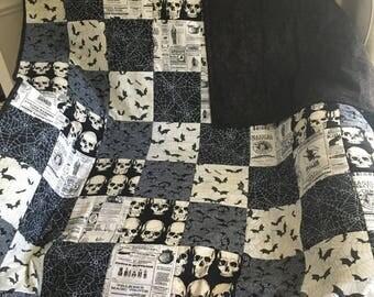 Horror Quilt - skulls, crows, bats witches, spiderwebs- blanket