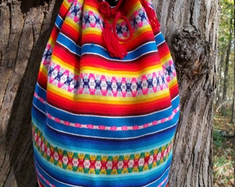 Peruvian Large Colourful Wool Backpack, Bohemian Hipster Backpack