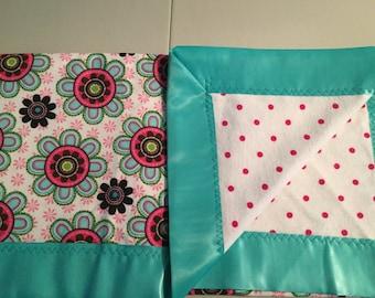 Aqua/Fuschia Floral Baby Blanket