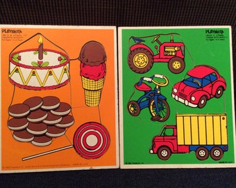 Vintage Playskool Wooden Puzzles, Things with Wheels and Favorite  Dessert