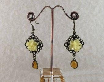 Amber Glass Flower Brass Earrings