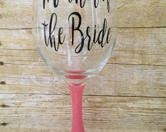 Personalized glitter dipped wine glass