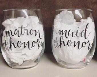 Maid/matron of honor glass