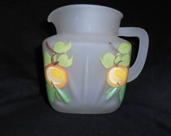 Gay Fad Pitcher, Frosted with hand painted Peaches