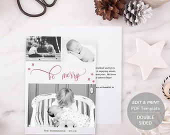 Printable Christmas Card, PDF Holiday Card Template, Instant Download, Photo Greeting Cards, be merry, merry christmas and happy new year