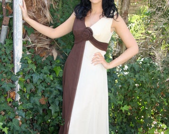 60's brown and cream chiffon evening dress