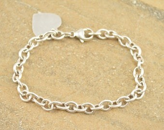 Cable Link Heart Charm Chain Bracelet Sterling Silver 11.4g