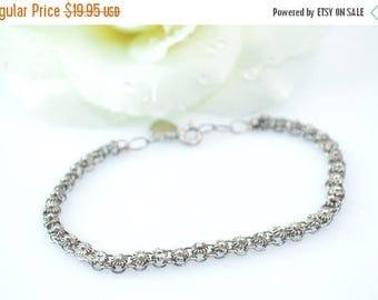 On Sale Vintage Petite Flower Link Chain Bracelet Sterling Silver 6.9g