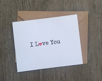 I heart you greeting card | Valentines day card | Love card