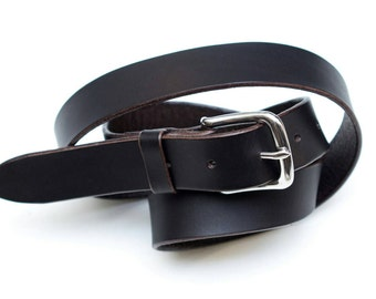 Leather belt - stainless steel buckle - dark brown - 3 cm - length 105 cm