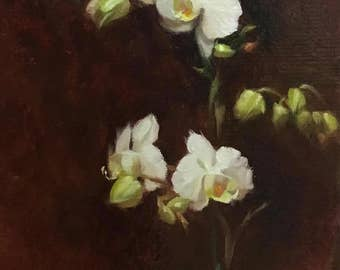 Orchids oil painting