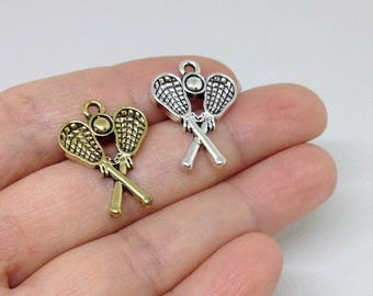 4 Pieces Lacrosse Stick Charm, Lacrosse Charm, Lacrosse Team Charm, Pewter Charm, Sports Charm Activity