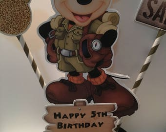 Safari Mickey Birthday Centerpiece