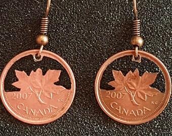 Maple Leaf 2007 Cut Coin Canadian Penny Earrings