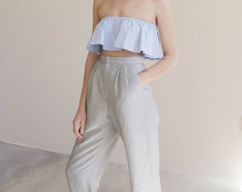 striped high waisted trouser