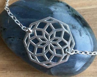 Lotus Mandala Bracelet - Sterling Silver