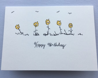 Set of 6 hand drawn cards - various sentiments