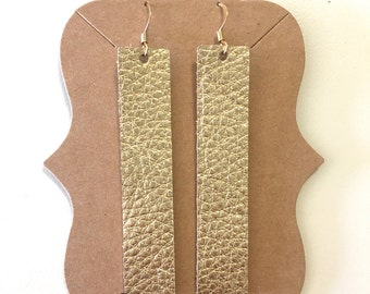 Gold {Leather} Bar Earrings