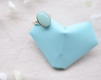 Silver ring 925 and semiprecious stone, amazonite cabochon
