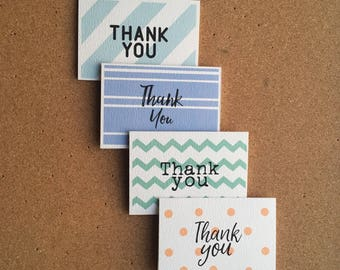 Set of 4 Thank You Cards - Mini Cards And Envelopes - Thank You Note Cards - Multipack Thank You Cards - Blank Inside