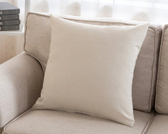 PROMO! Pillow cover-unbleached cotton woven 45 x 45 cm elegant chic ecru beige plain simple elegant
