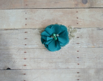 Teal Flower Hairclip, Flower Girl Hairclip, Wedding Clip, Bridal Hairclip, Rhinesyine Hairclip, Fascinator, Bridesmaid, Bridal Shower Baby