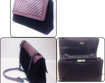Mixed media crochet handbag