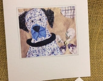 Textile Art Dog Greetings Card