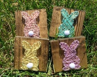 Mini Bunny Rabbit String Art, Easter String Art, Bunny String Art, Spring String Art, Spring Decor, Easter Decor