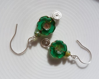 Emerald green earrings, Green boho earrings, Green turquoise earrings, Czech glass earrings, Cut glass flower earrings, Sterling silver