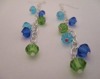 Crystal Chain Earrings, Dangle Earrings