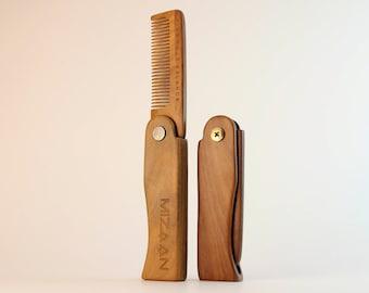 Men's Beard Comb | Folding Comb | Sandal Wood Comb | Natural Comb | Hair Comb | Wooden Beard Comb | Combs for Men | Grooming Comb for Men