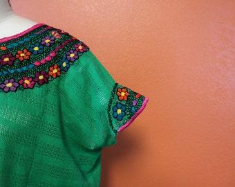 Veronica Prida Hand Embroidered Green Guatemalan Blouse