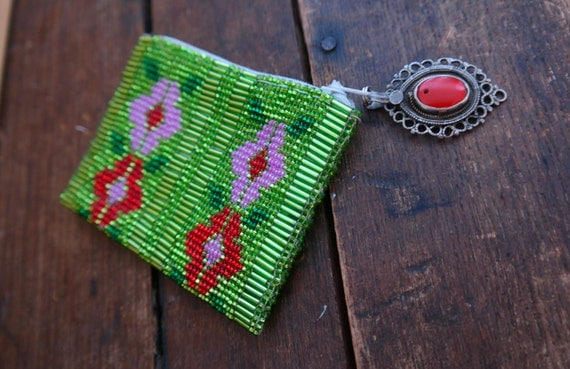 Veronica Prida Floral Beaded Coin Purse-Green
