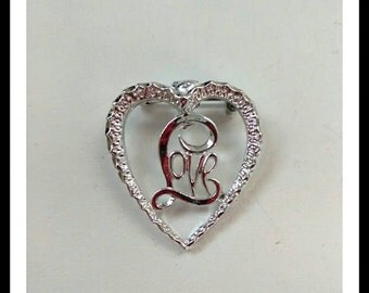 Silver Heart Brooch Pin, Designer Signed Jewelry, Love Brooch, Accessories, Fashion Jewelry, Boutique