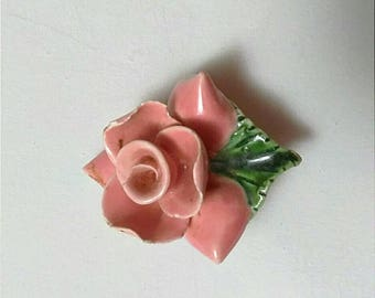 Vintage Pink Porcelain Flower Brooch Pin, Vintage Brooch, Mid Century Brooch, Flower Brooch Pin, Porcelain Jewelry, Boutique