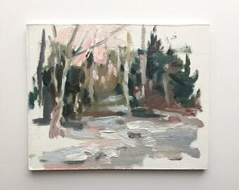 Original oil sketch, Winter Woods, Landscape Painting