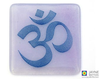 Om coaster, blue and purple, handmade fused glass, purple decor, great yoga teacher gift, home gifts, spiritual development
