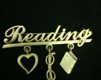 Vintage JJ Reading Brooch with Charms