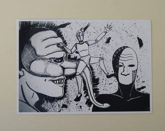 Masks and Madness (digital printing)