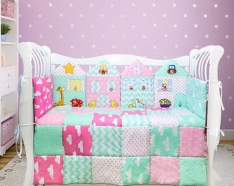 Baby shower gift/ Crib bedding set/ Baby girl crib set/ Baby girl nursery decor/ Nursery room decor (007)