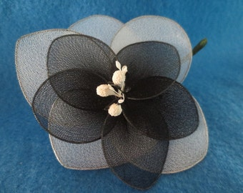 Vintage Black and White Silk Fabric Flower Pin