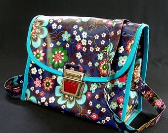 70s retro handbag handlebar bag colorful flower pattern with reflector