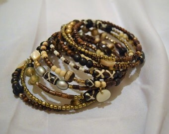 Nuetral Beaded Coil Bracelet
