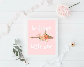Be Brave Little One, Neutral Nursery Decor, Tribal Nursery Printables, Printable Wall Art, Boho Nursery Decor, Instant Download