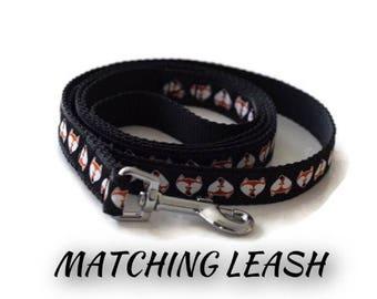 Matching dog leash, Dog Leash, Dog Lead, Cute Dog leash, Fox Dog Leash, Small dog leash, Black dog leash