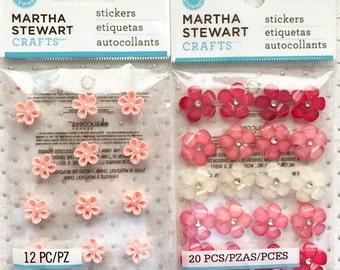 Martha Stewart Bling!  2 Packs of Gem Embellishment Flowers