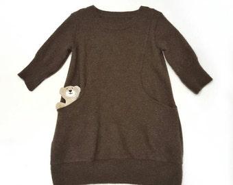 cashmere toddler dress, pocket dress, baby girl dress, sweater dress, 3t,4t, handmade