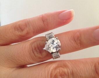 Pear Shape Engagement Ring, Pear Shape and Accent Stone Ring, 2.00ct pear Shape Ring, 925 Sterling Silver and Rhodium Finish
